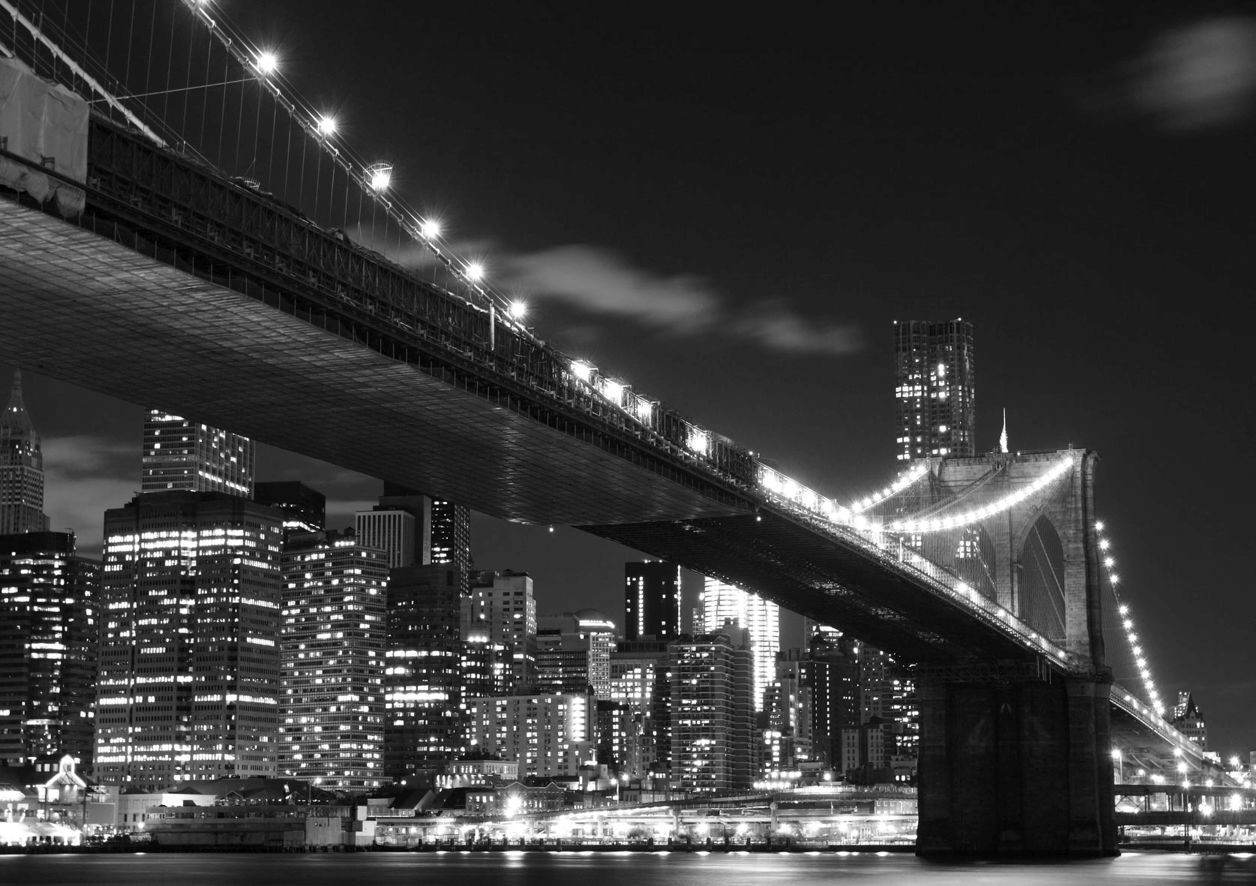 fototapete tapete brooklyn bridge new york nacht schwarz. Black Bedroom Furniture Sets. Home Design Ideas