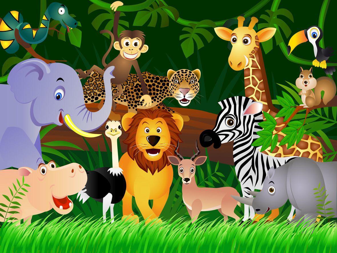 Fototapete Tapete Kinder Dschungeltiere Dschungel Tiere ...
