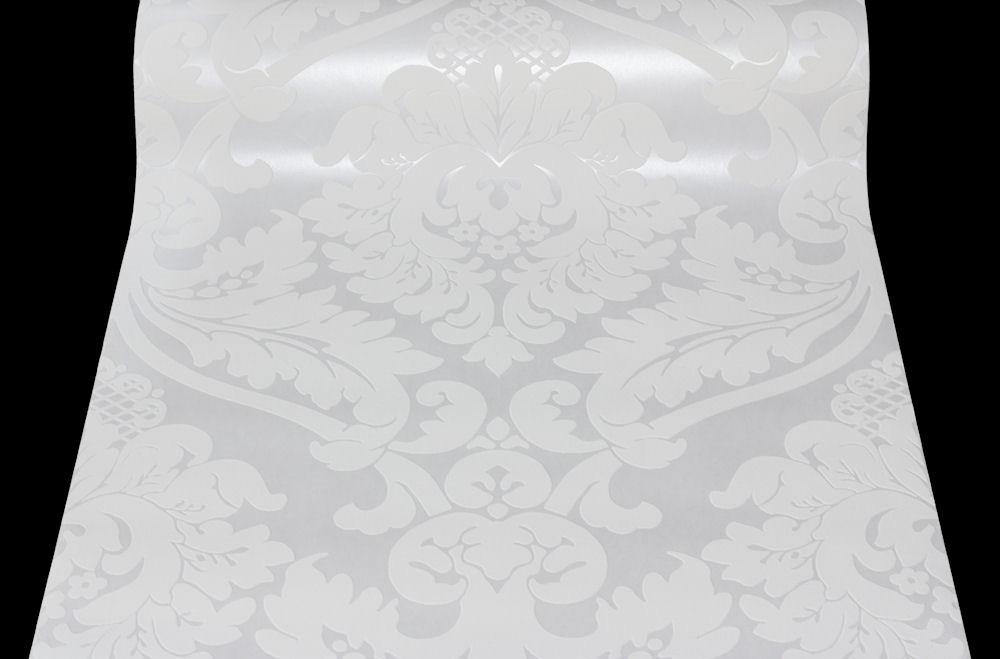 5543 38 1 rolle vliestapete as creation flock barock tapete ornament wei ebay. Black Bedroom Furniture Sets. Home Design Ideas