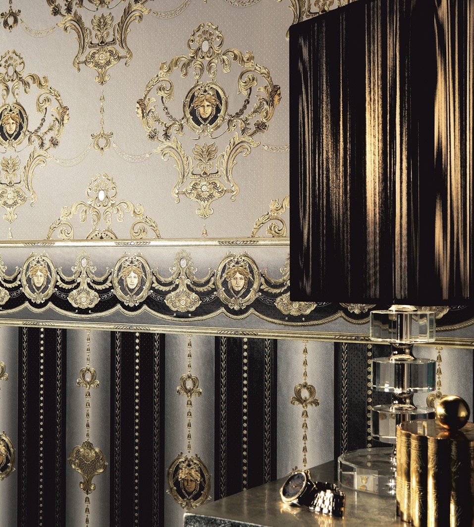 Exklusivtapete barock wei gold as creation hermitage 6553 for Barock tapete schlafzimmer