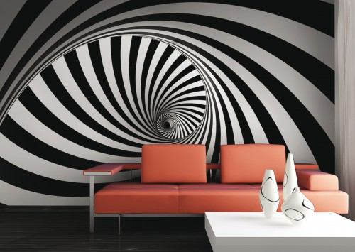 Schwarz Wei? Muster Tapeten : Tapete Grafik Retro 3D Design Wirbel Foto 360 x 270 cm schwarz wei?
