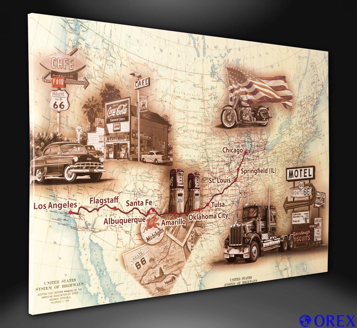 leinwand bild keilrahmen wandbild 78x118 usa landkarte route 66 roadtrip ebay. Black Bedroom Furniture Sets. Home Design Ideas