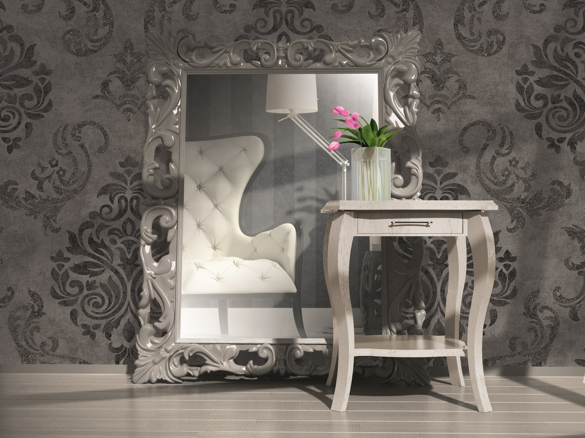 vliestapete memory tapete barock 95372 3 953723 schwarz grau silber. Black Bedroom Furniture Sets. Home Design Ideas