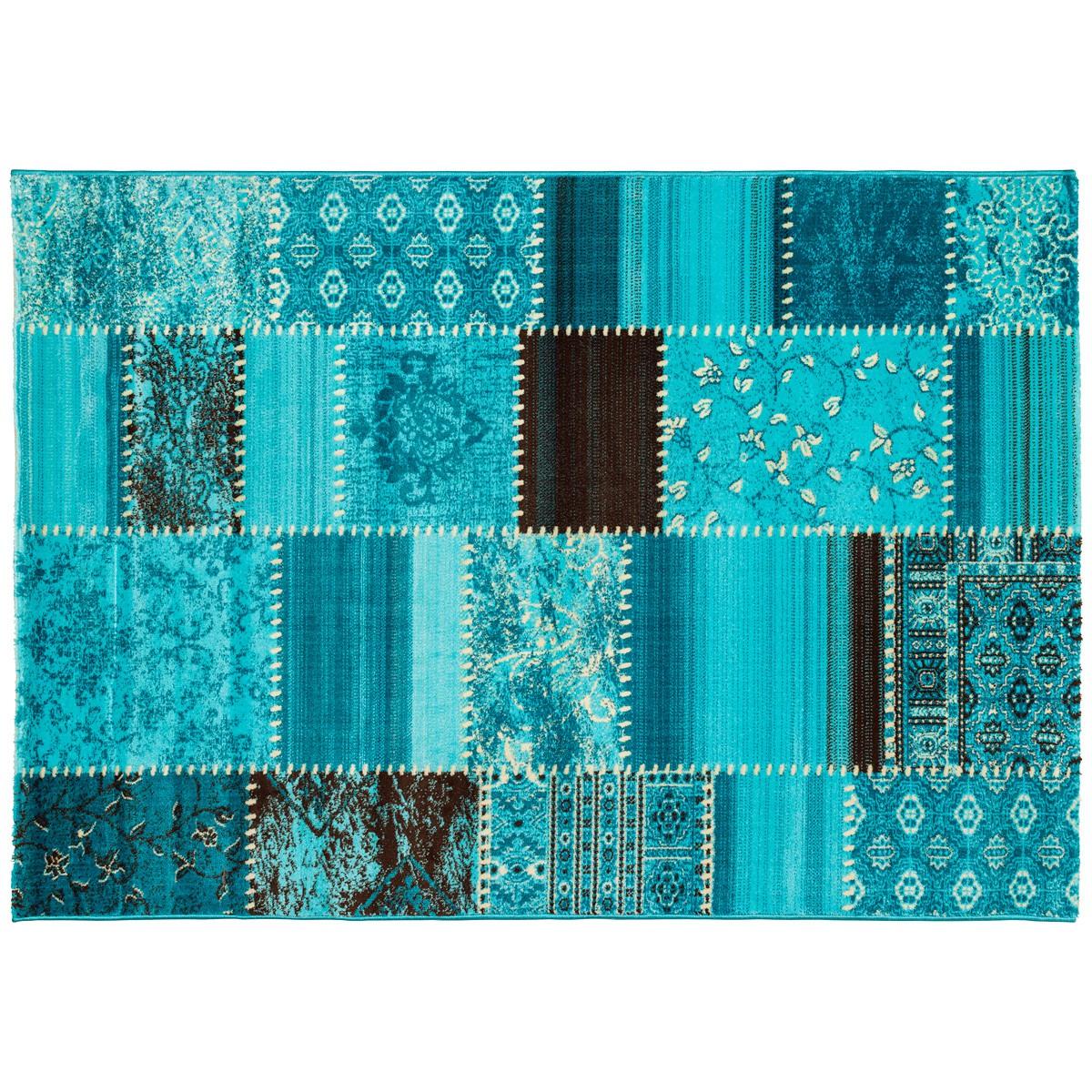 maya teppich webteppich patchwork flickenteppich optik in 4 gr en t rkis ebay. Black Bedroom Furniture Sets. Home Design Ideas