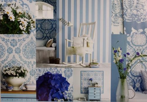 Tapeten Scandinavian Vintage : Vliestapete Scandinavian Vintage Marburg 51651 blau