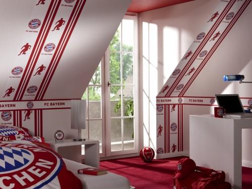 Kinderzimmer Tapeten M?nchen : Details zu FC Bayern Tapete Vliestapete Rasch Fantapete 769807