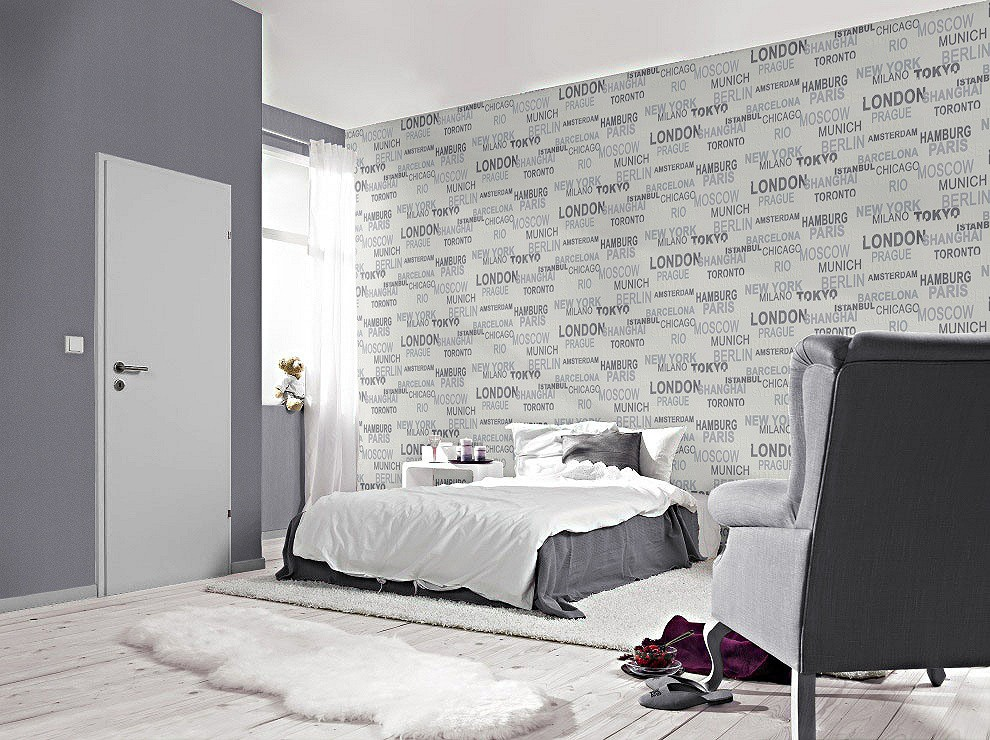 tapete rasch vliestapete 766707 schriftzug stadt wei kids. Black Bedroom Furniture Sets. Home Design Ideas