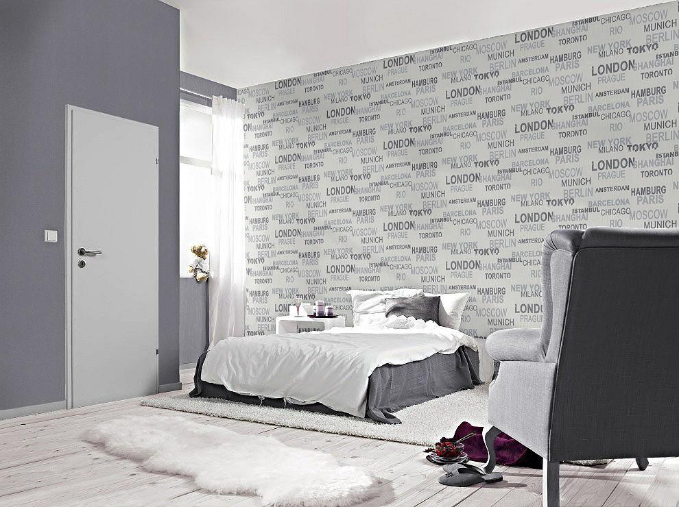 tapete rasch vliestapete 766707 schriftzug stadt wei kids 39 club 2014. Black Bedroom Furniture Sets. Home Design Ideas