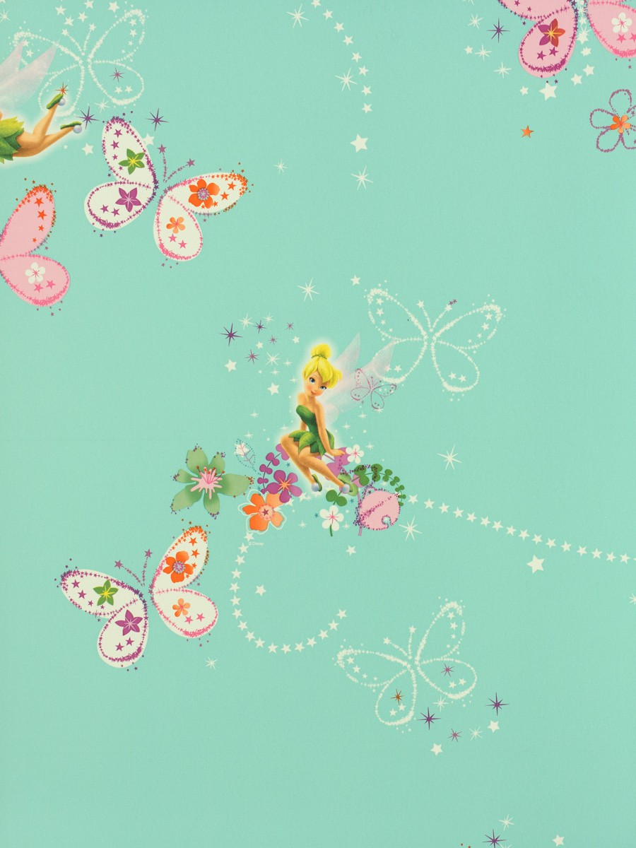 Tapete kinder tapeten 72499 tinkerbell design t rkis for Kinder tapete
