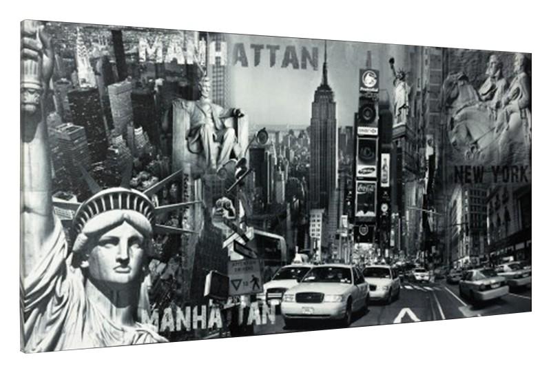 leinwand bild keilrahmen bild new york freiheitsstatue manhatten streetlife 50x100 cm. Black Bedroom Furniture Sets. Home Design Ideas