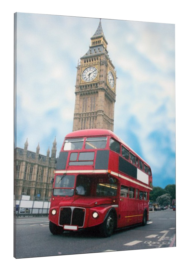 fotodruck bild keilrahmen london big ben roter bus england 60x80 cm ebay. Black Bedroom Furniture Sets. Home Design Ideas