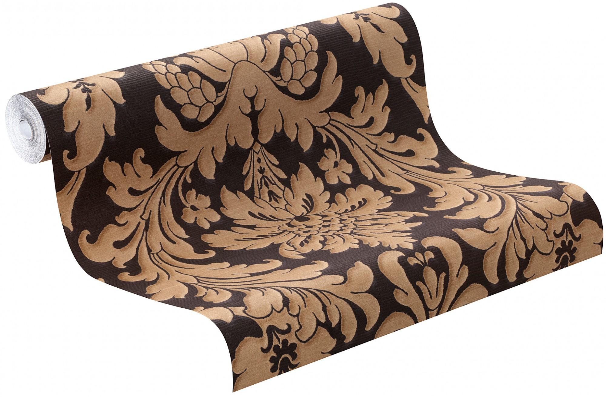trianon tapete 513691 rasch vliestapete barock schwarz braun. Black Bedroom Furniture Sets. Home Design Ideas