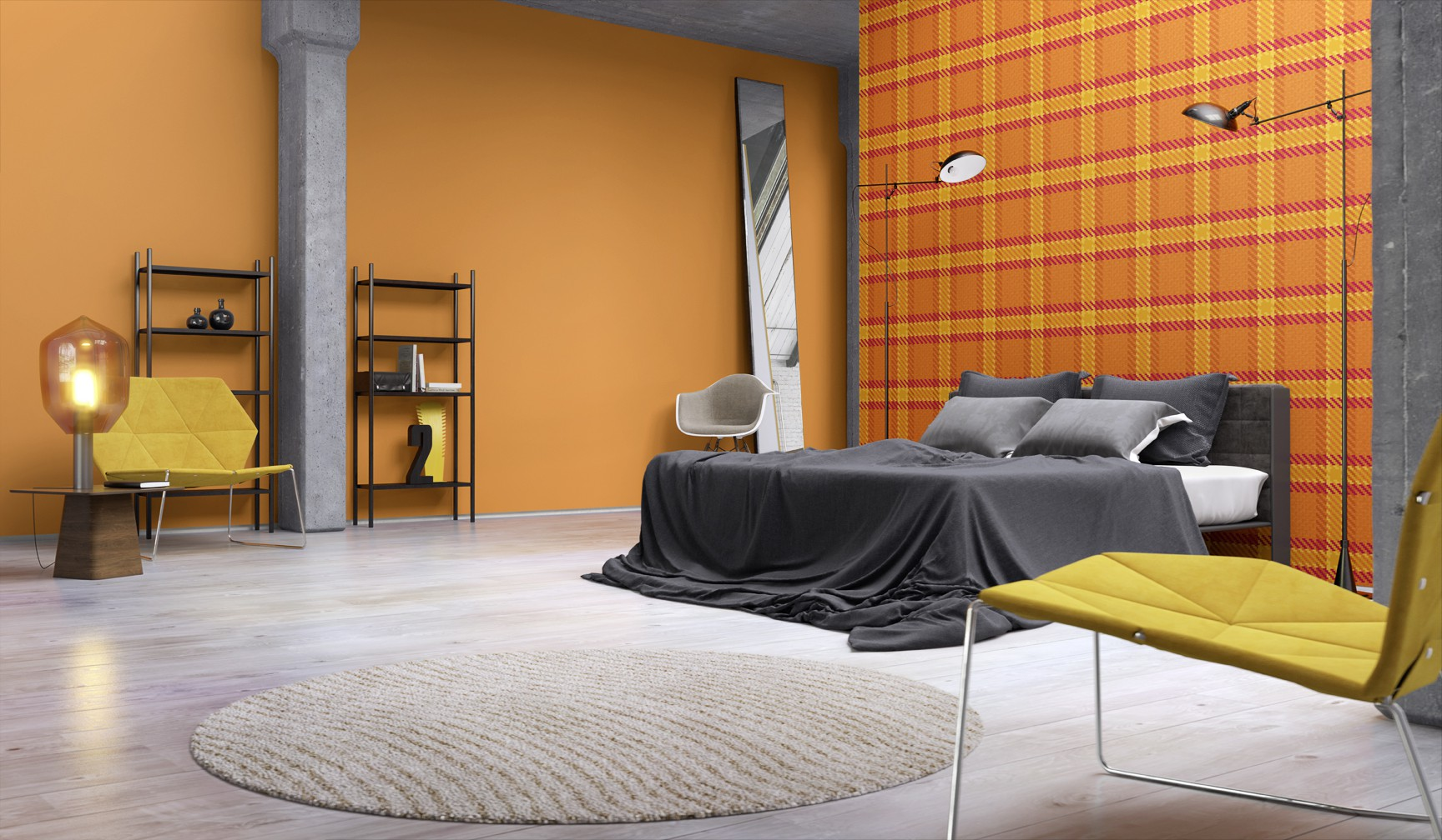 funky flair tapete rasch vliestapete modern 721669 kariert orange gelb. Black Bedroom Furniture Sets. Home Design Ideas