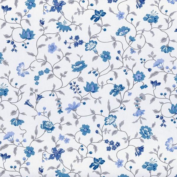 Scandinavian Vintage Tapete In Blau Wei? : Vintage Diary Tapete Rasch Textil 255224 Blumen Ranken wei? blau