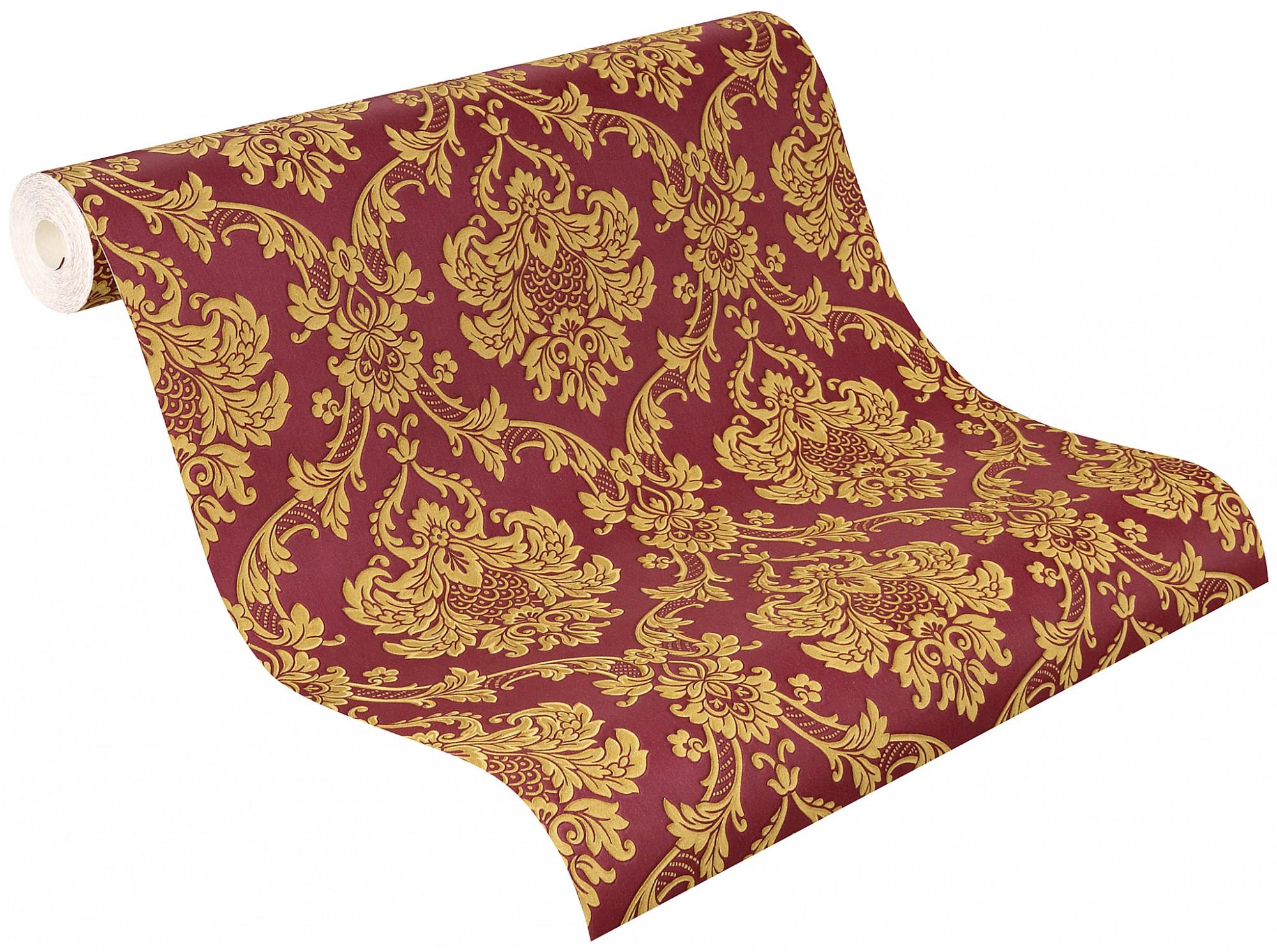 Barock Tapete Auf Leinwand : Tapete Barock Ornamente Rasch Trianon rot gold 505368