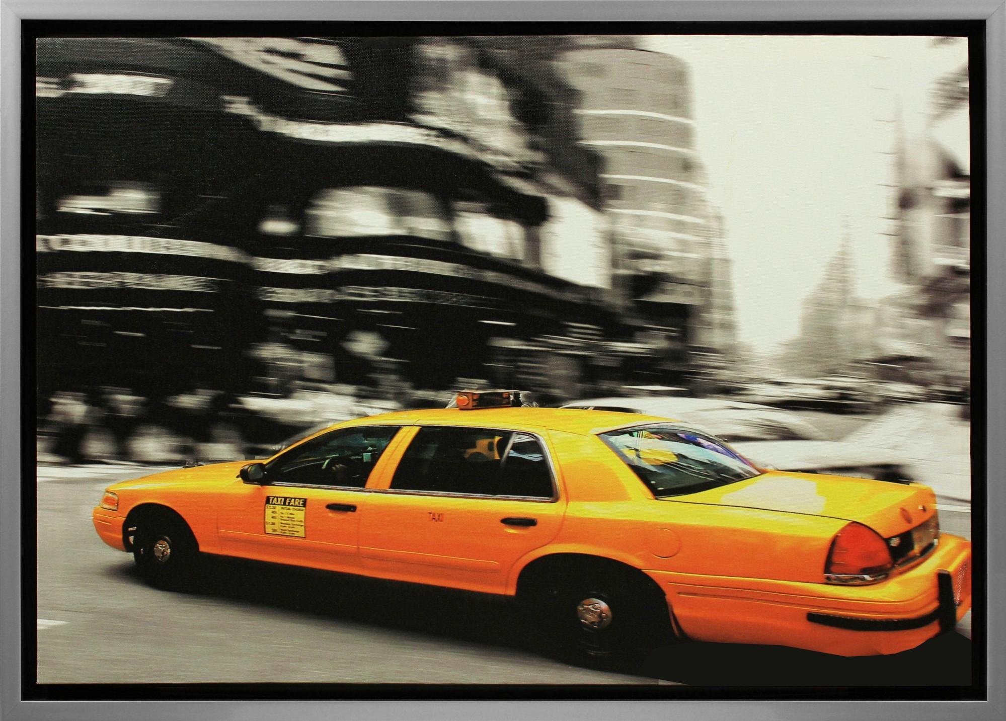 leinwand bild keilrahmen wandbild gerahmt grau 50x70 cm new york city cap taxi ebay. Black Bedroom Furniture Sets. Home Design Ideas