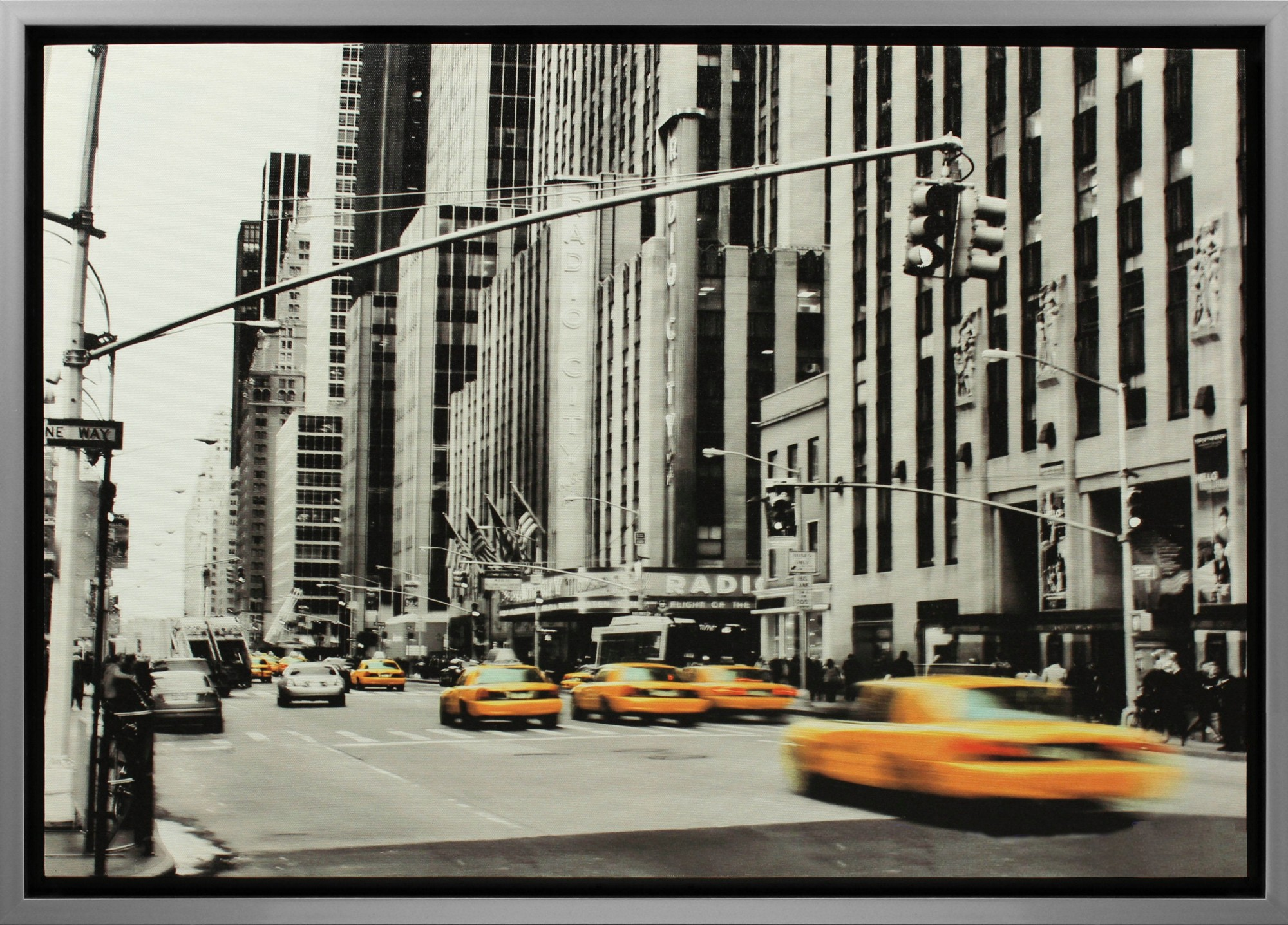 leinwand bild keilrahmen wandbild gerahmt grau 50x70 cm new york radio city hall ebay. Black Bedroom Furniture Sets. Home Design Ideas