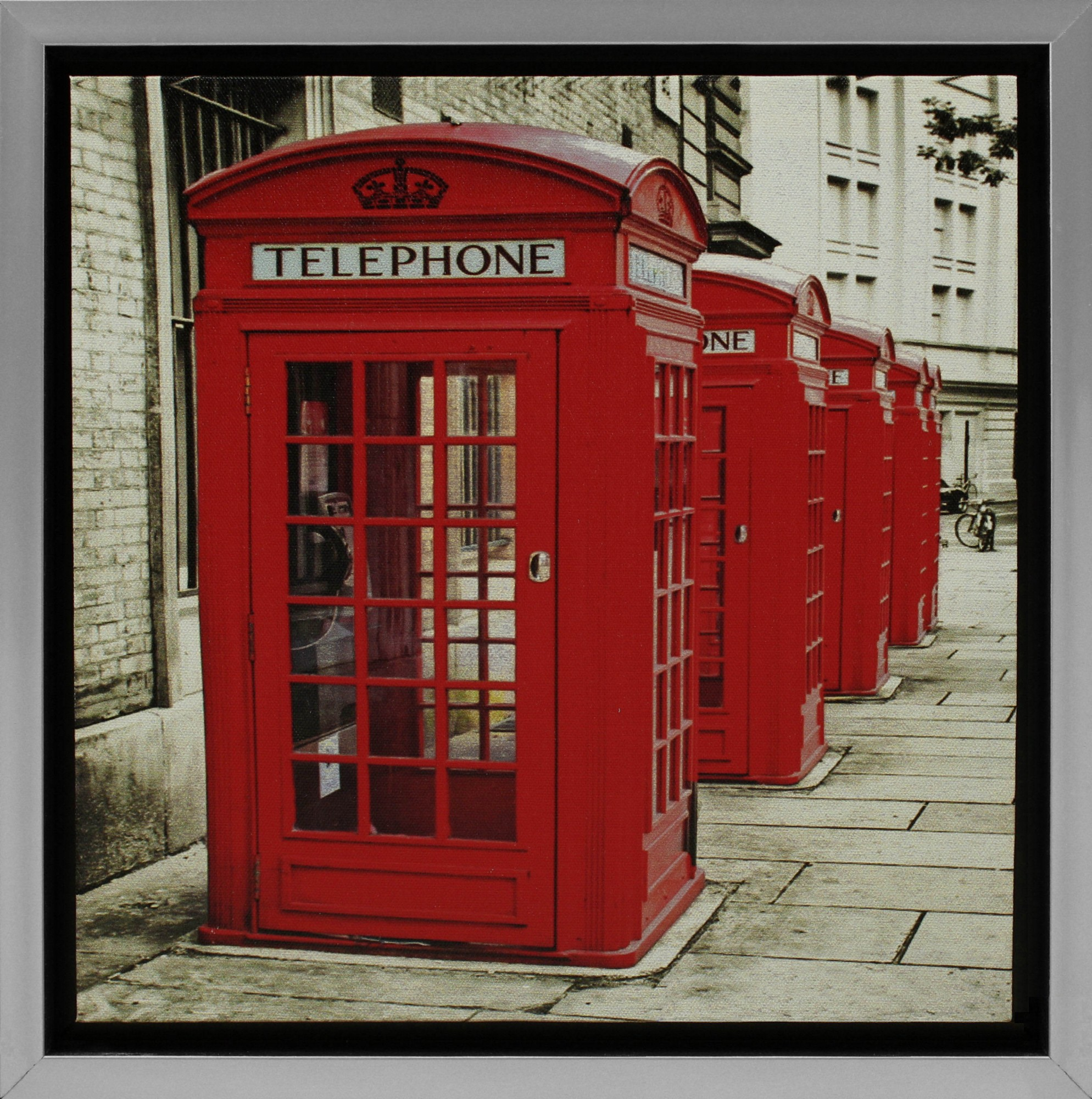 Wandbild gerahmt grau 35x35 cm London Telefonzellen rot