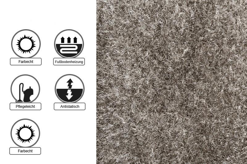 sch ner wohnen teppich feeling shaggy hochflor creme silber. Black Bedroom Furniture Sets. Home Design Ideas