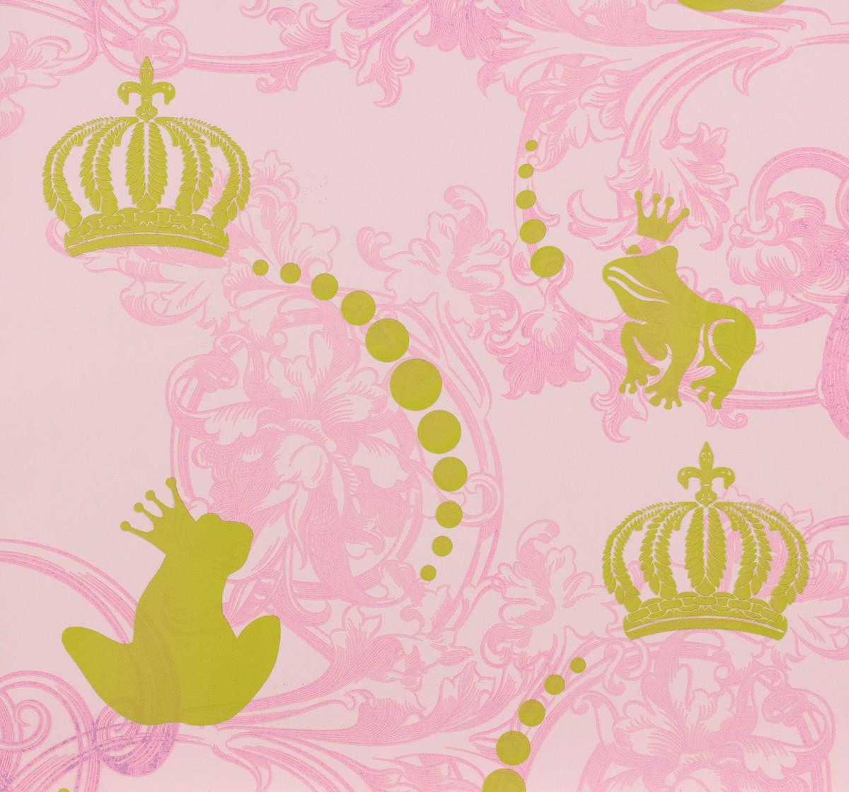 childrens paradise kindertapete vlies gl ckler 54116 froschk nig rosa gold tapeten harald. Black Bedroom Furniture Sets. Home Design Ideas