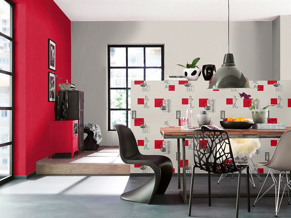 tapete k che asien cremewei grau rot tapete aqua relief 4 rasch 830811. Black Bedroom Furniture Sets. Home Design Ideas