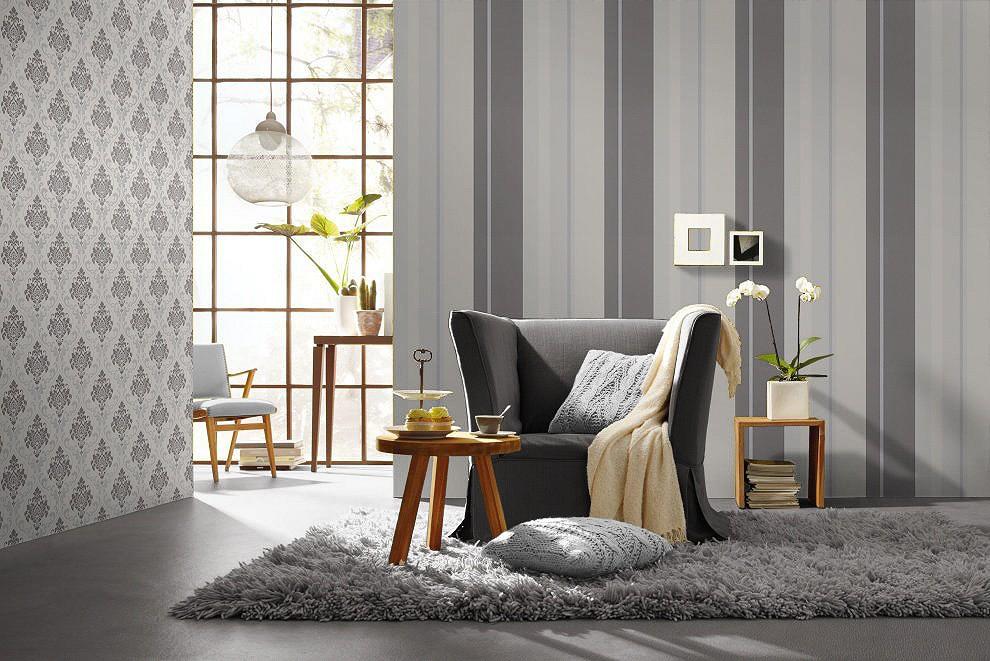 Tapeten Flur Streifen Grau Weiß : Rasch Gentle Elegance Vliestapete ...