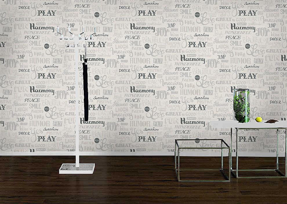 Rasch Tapeten Home Style : Rasch homestyle City 886313 Vliestapete Struktur Schrift wei? grau
