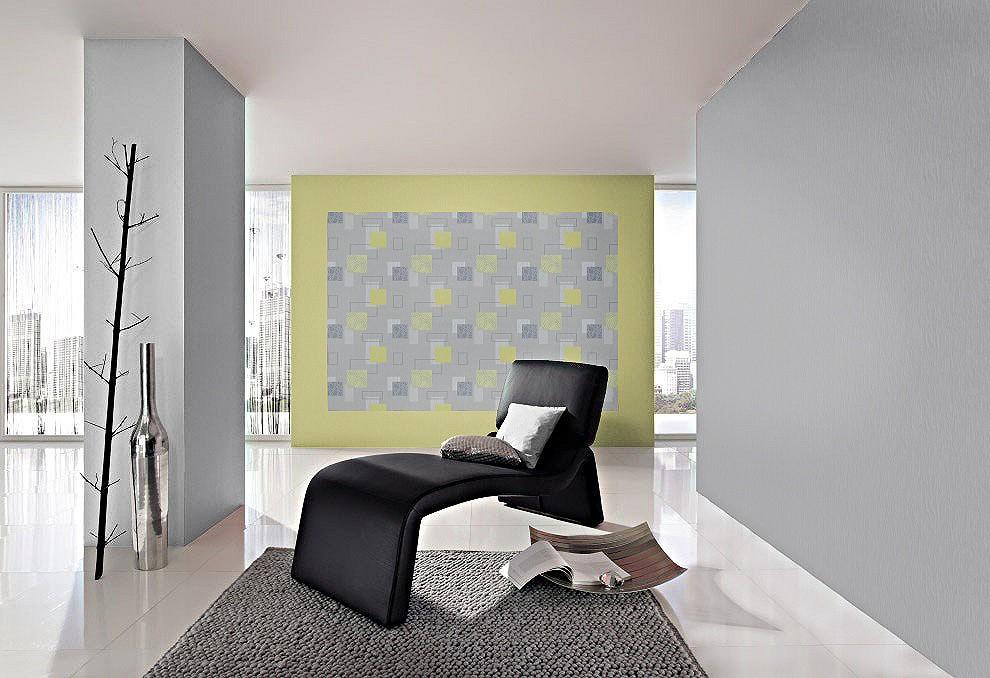 ... . ... Domino 277524 Tapete Kreise Streifen Struktur grau weiß grün