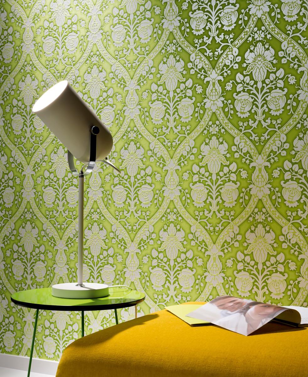 ... Barock grün silber glitzer Tapete livingwalls Flock 4 95689-3 956893