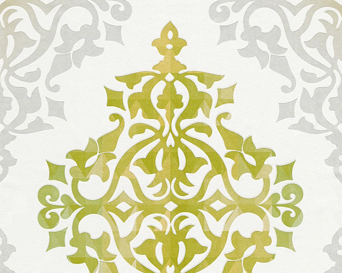 vliestapete barock design wei gr n tapete livingwalls flock 4 95614 4 956144. Black Bedroom Furniture Sets. Home Design Ideas