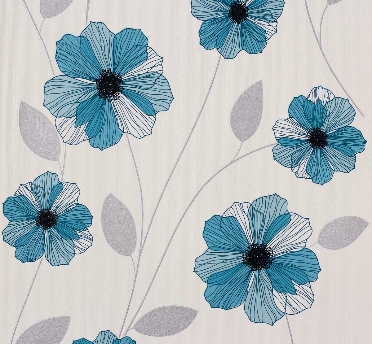 tapete blumen blau silber tapeten livingwalls atlanta. Black Bedroom Furniture Sets. Home Design Ideas