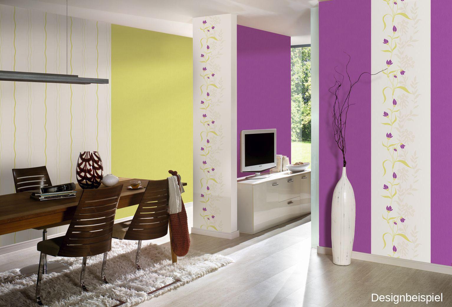 tapete blumen gr n lila vliestapeten livingwalls avenzio 7. Black Bedroom Furniture Sets. Home Design Ideas