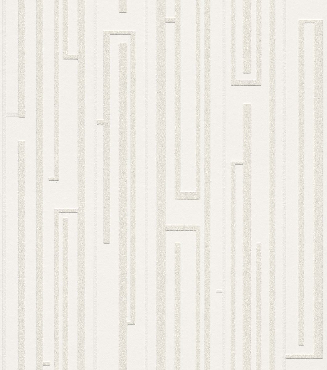 Tapete muster streifen cremewei vliestapeten rasch for Tapete muster