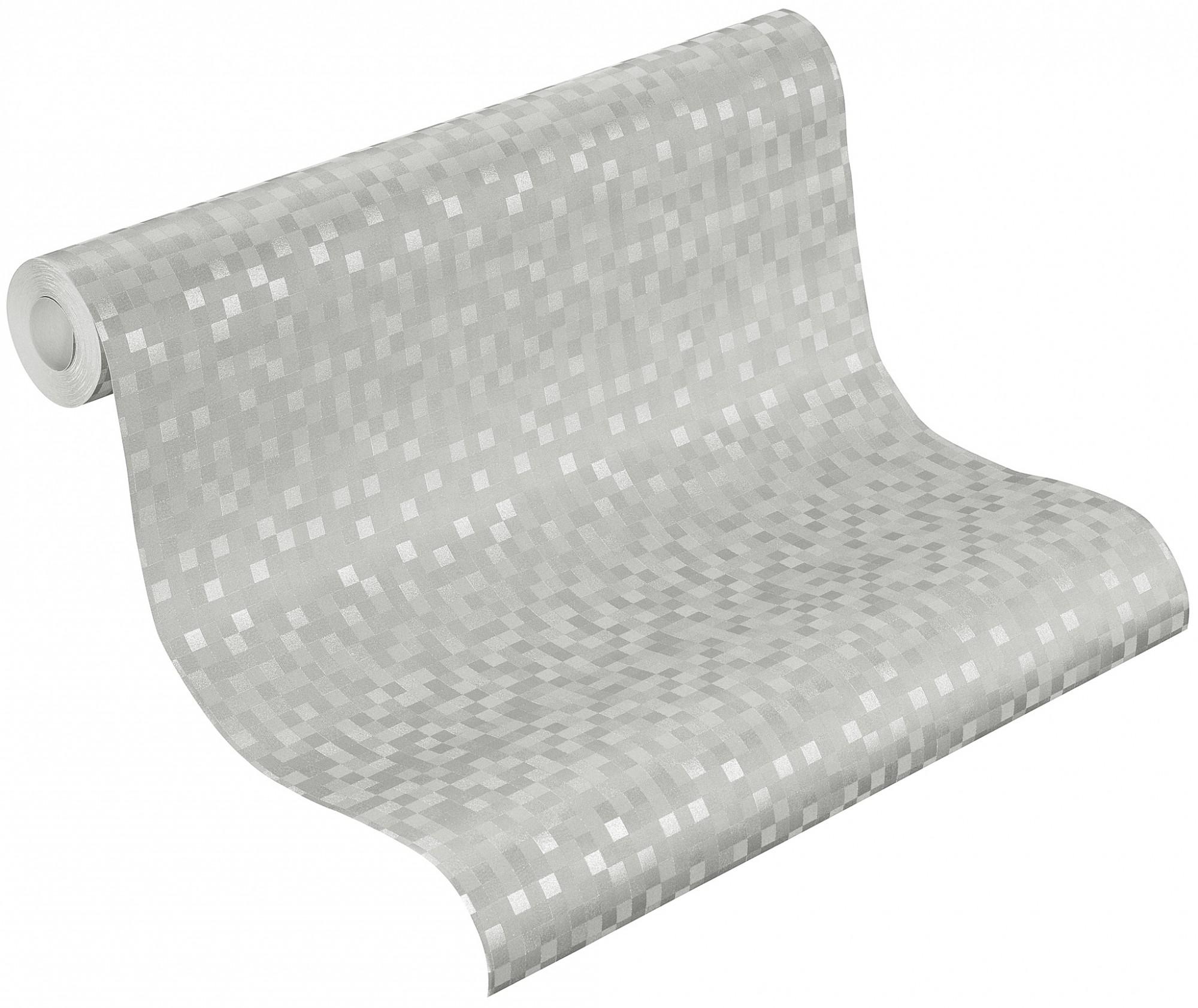 tapete kariert hellgrau silber vliestapete rasch shiny. Black Bedroom Furniture Sets. Home Design Ideas