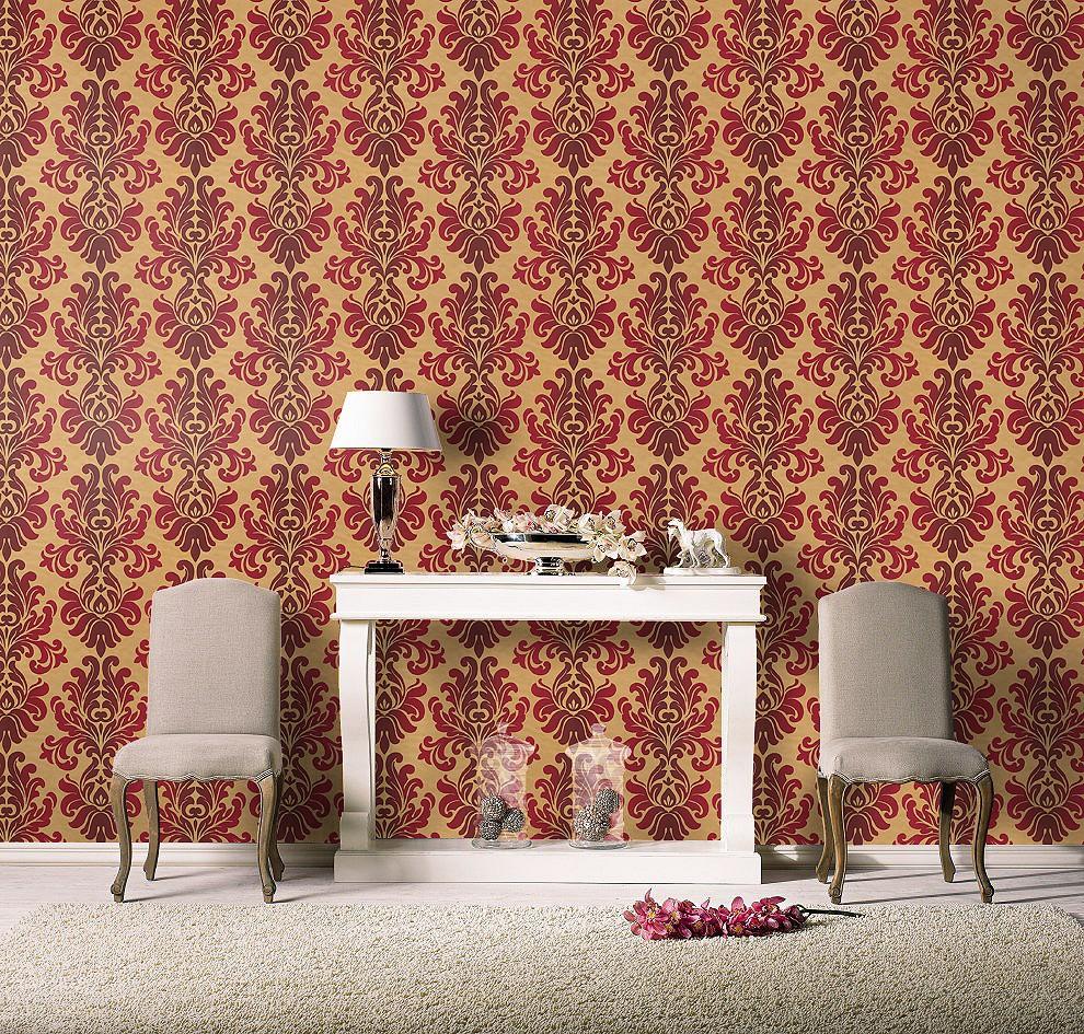Barock Tapete Auf Leinwand : Vliestapete Barock gold rot Tapete Rasch En Suite 546101
