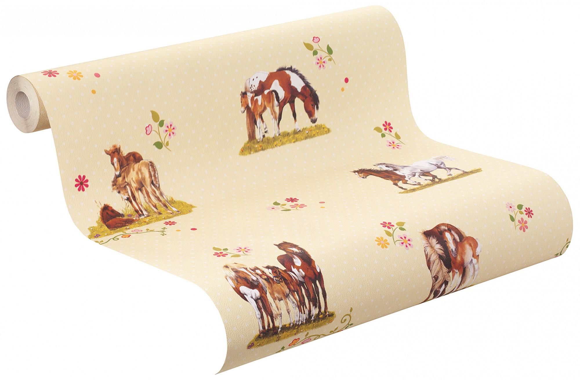 tapete punkte pferde blumen wei gelb bunt kindertapete rasch 290509 1 64 1qm ebay. Black Bedroom Furniture Sets. Home Design Ideas