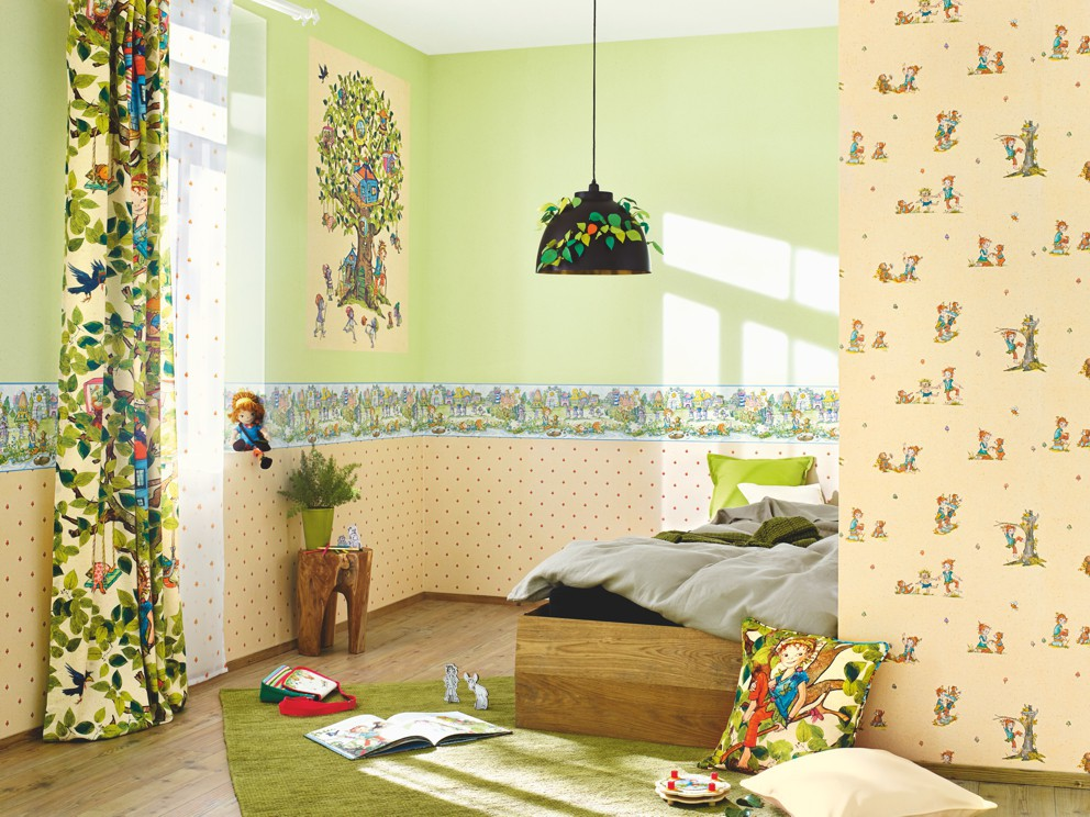 tapete borte pipa lupina tiere blau bunt kindertapete rasch kindertapete 297508. Black Bedroom Furniture Sets. Home Design Ideas