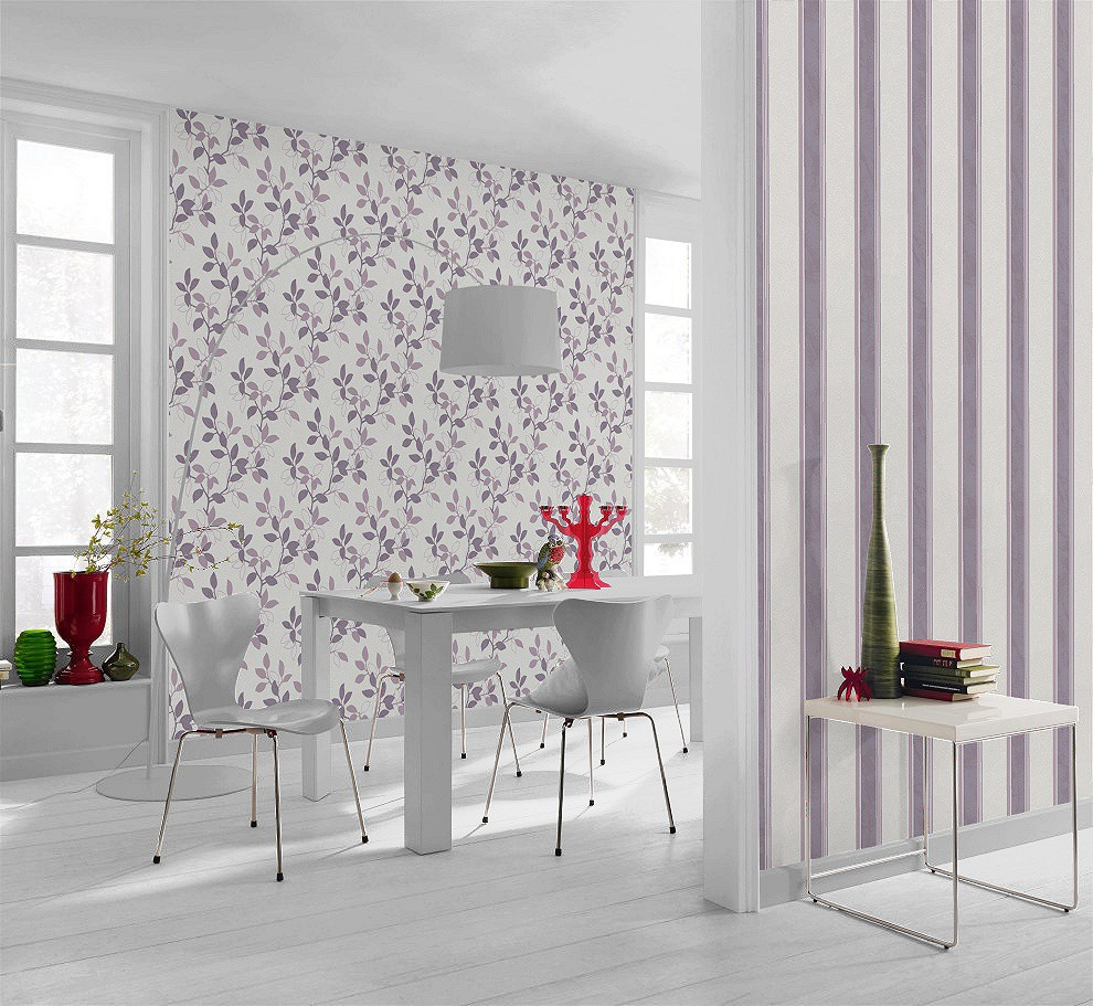 vliestapete wei lila ste bl tter rasch home vision 4 spring time tapete 431438. Black Bedroom Furniture Sets. Home Design Ideas