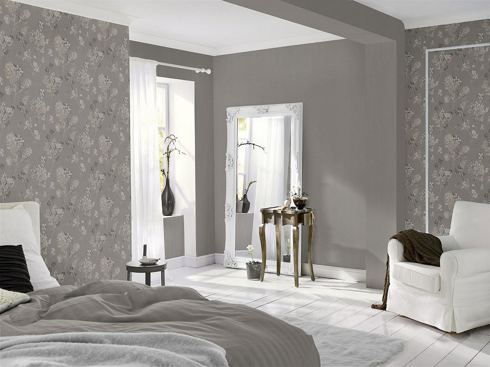 tapeten in grau tapeten schwarz grau muster. Black Bedroom Furniture Sets. Home Design Ideas