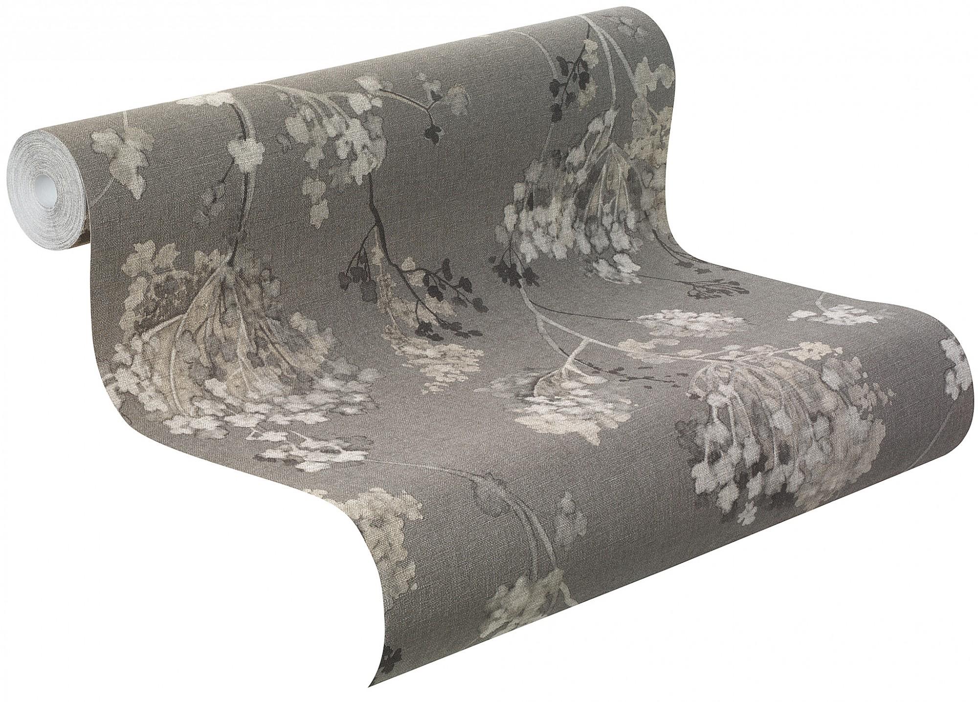 Rasch Tapeten Florentine : Rasch Tapete Florentine Floral schwarz grau 449242