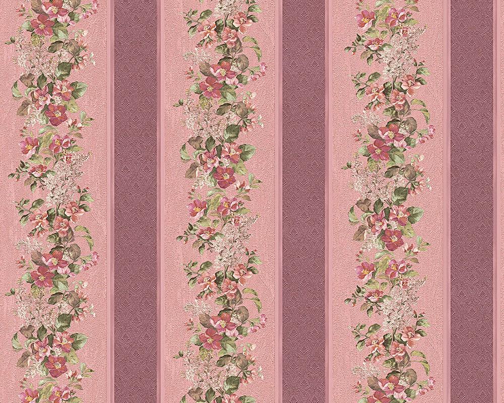 tapete floral streifen rot rosa a s cr ation villa rosso vinyl 95929 4 959294 ebay. Black Bedroom Furniture Sets. Home Design Ideas