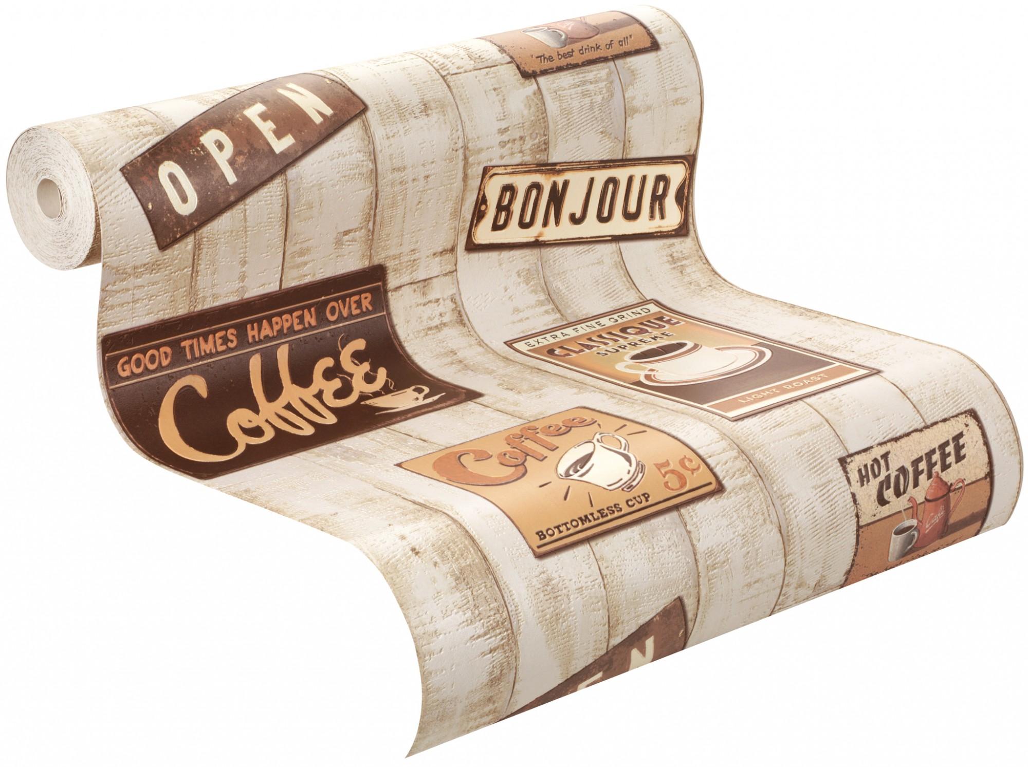 Holz Tapete Selbstklebend : Tapete Holz Kaffee creme braun orange Tapete Aqua Relief 4 Rasch