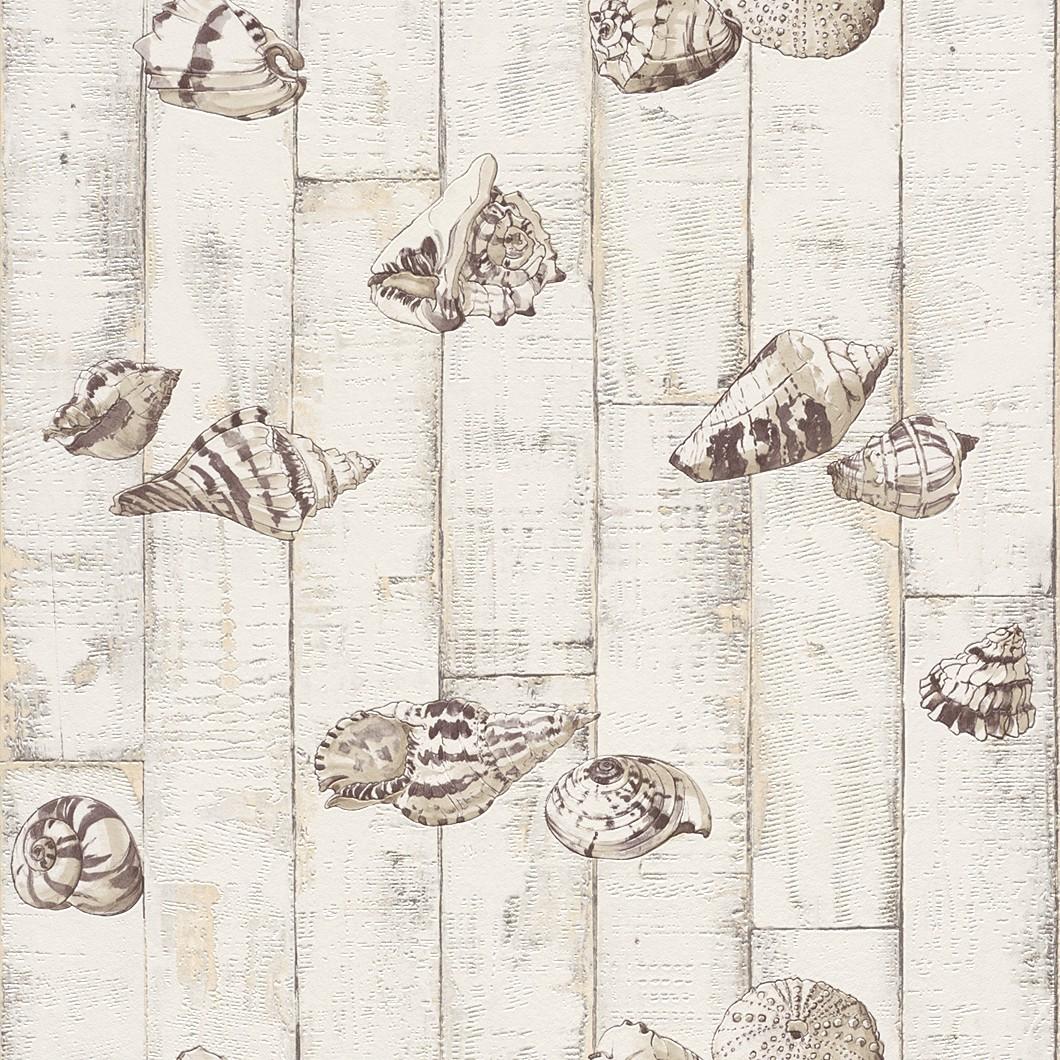 Tapete holz muscheln creme beige tapete aqua relief 4 - Papel para azulejos de bano ...