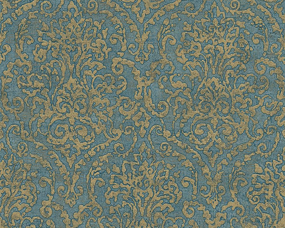 vliestapete floral blau t rkis gold bohemian burlesque livingwalls 96047 1. Black Bedroom Furniture Sets. Home Design Ideas