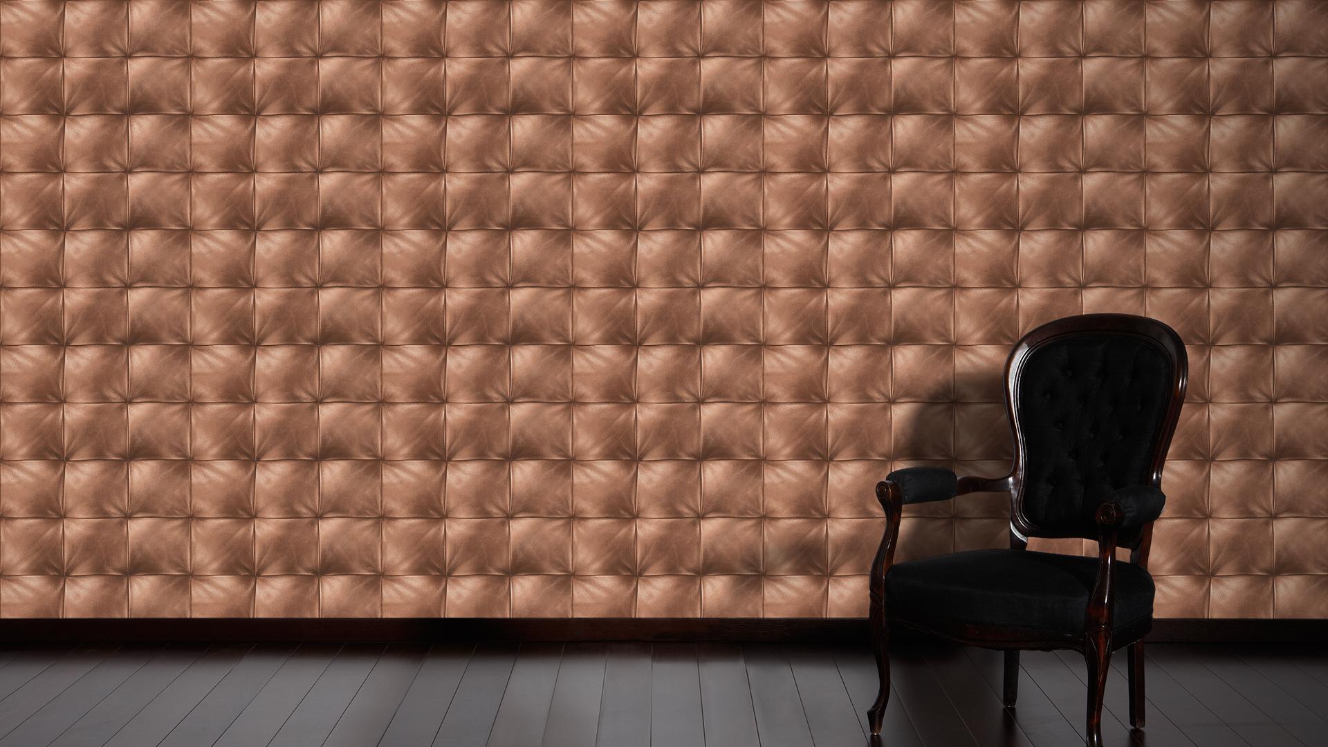 tapete vlies lederoptik gesteppt kupfer livingwalls move. Black Bedroom Furniture Sets. Home Design Ideas