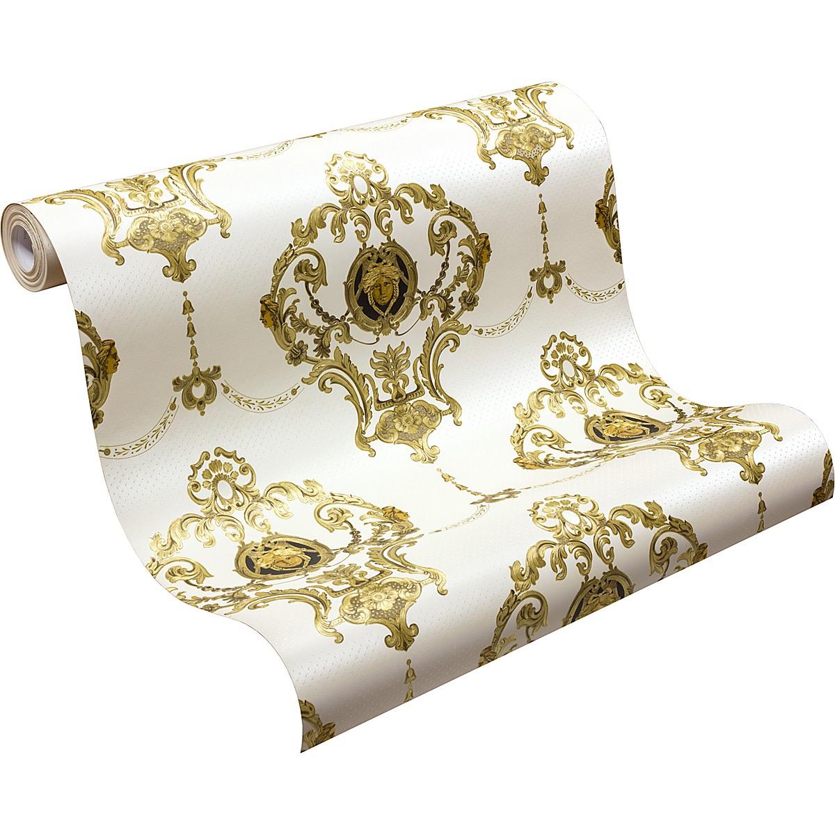 tapete satin barock medusa ornament tapete hermitage glanz wei gold 6553 63 3 ebay. Black Bedroom Furniture Sets. Home Design Ideas