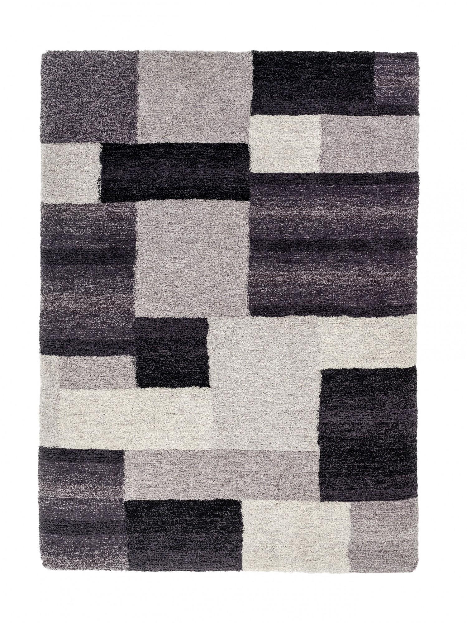 teppich hochflor shaggy flokati webteppich langflor kariert schwarz ebay. Black Bedroom Furniture Sets. Home Design Ideas