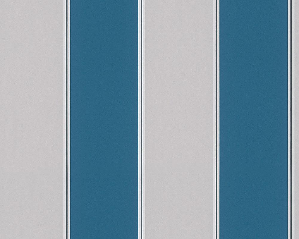 Michalsky Tapete Streifen Designer grau tuerkis 30 - Tapete Streifen Grau