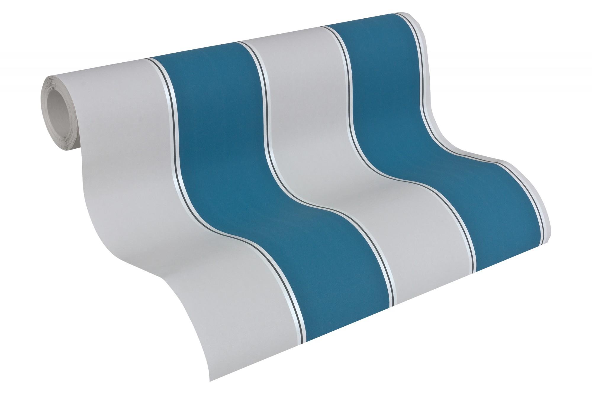 Michael Michalsky Tapeten : Michalsky Tapete Streifen Designer grau t?rkis 30459-1