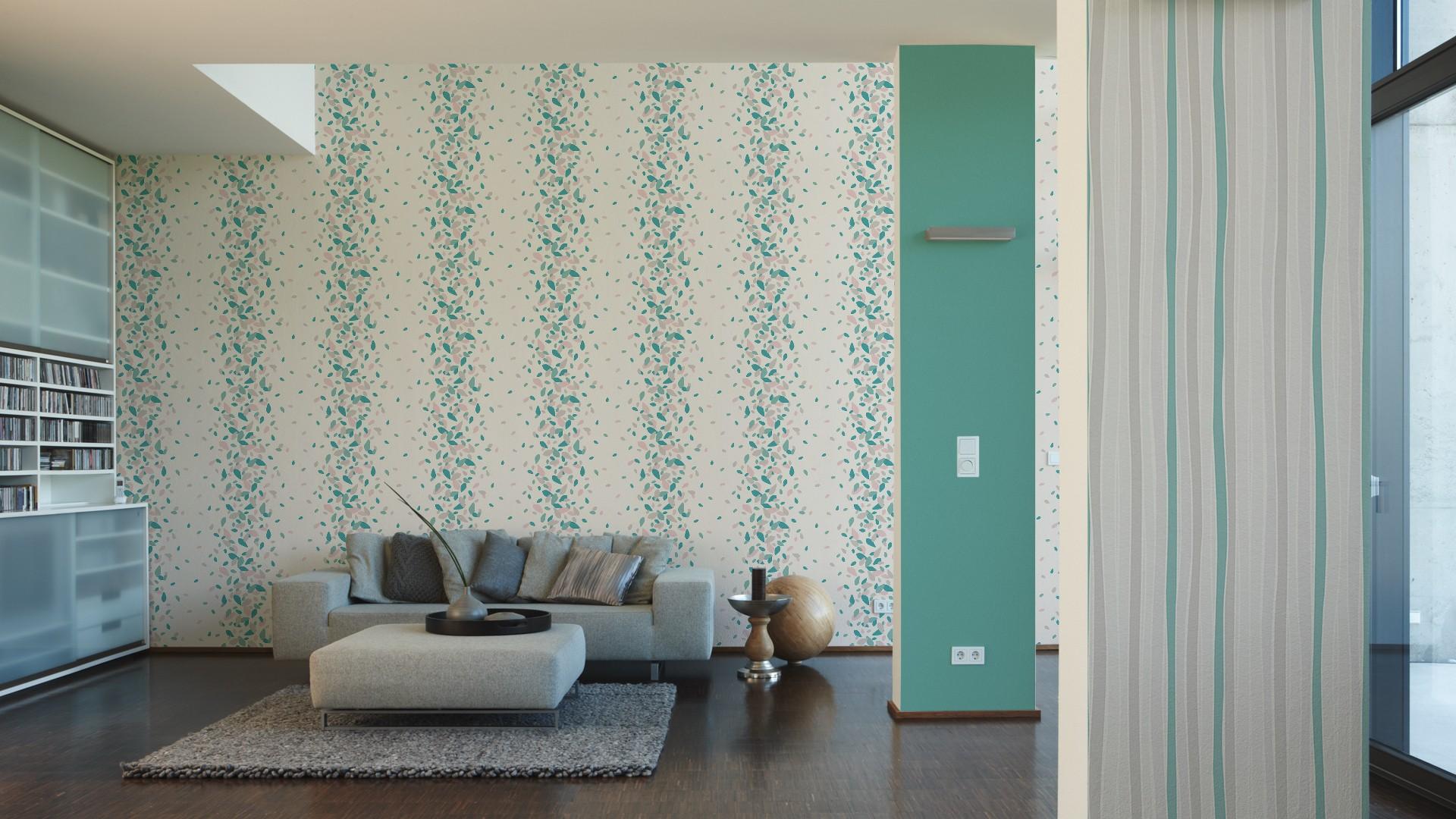 esprit home tapete streifen grau t rkis 30281 2. Black Bedroom Furniture Sets. Home Design Ideas